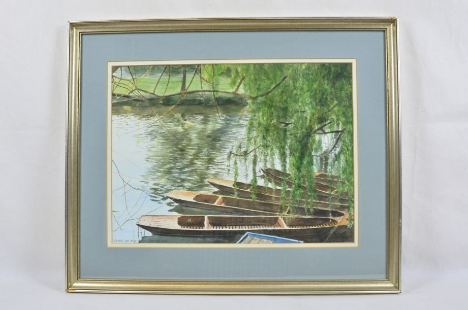 Alan Grabham 'Punts On The Cam Cambridge' 1991 Signed Framed Print​