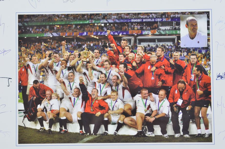 England Rugby World Cup Winners 2003 Signed Team Framed Print Autographed