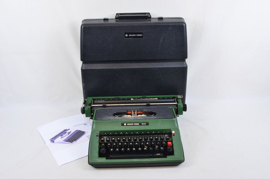 Vintage Silver Reed 500 Typewriter Green With Dedicated Hard Case