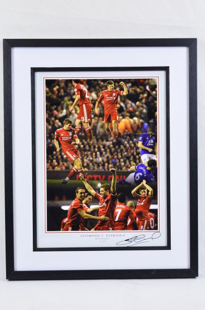 Liverpool v Everton 2012 Framed Football Photo Signed by Steven Gerrard 1
