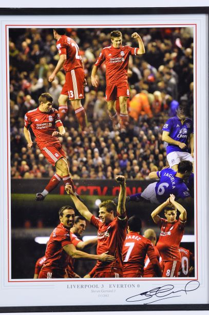 Liverpool v Everton 2012 Framed Football Photo Signed by Steven Gerrard 3