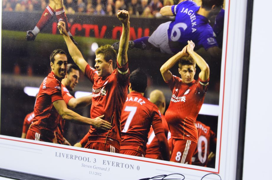 Liverpool v Everton 2012 Framed Football Photo Signed by Steven Gerrard 8