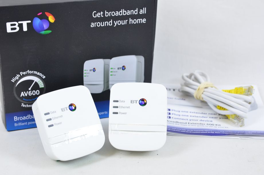 BT Broadband Extender Flex 600 Kit Powerline Adapter 600mbps 1