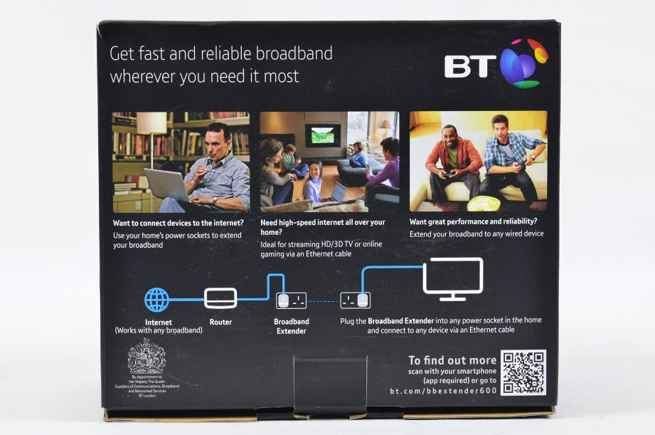 BT Broadband Extender Flex 600 Kit Powerline Adapter 600mbps 5
