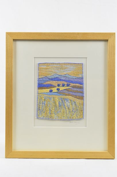 Carol Naylor - Distant Plains Embroidered Textile on Framed Canvas 1