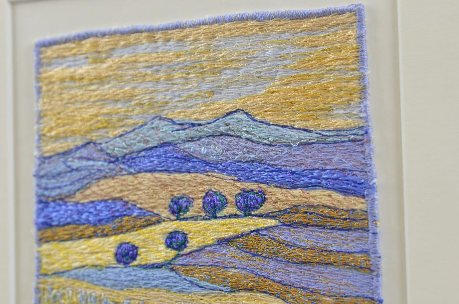 Carol Naylor - Distant Plains Embroidered Textile on Framed Canvas 3