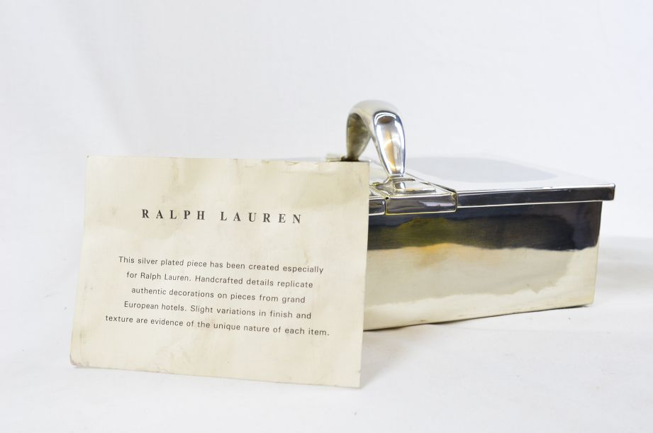 Ralph Lauren Silver Plated Wood Lined Cigar Box with Two Lids & Handle 1