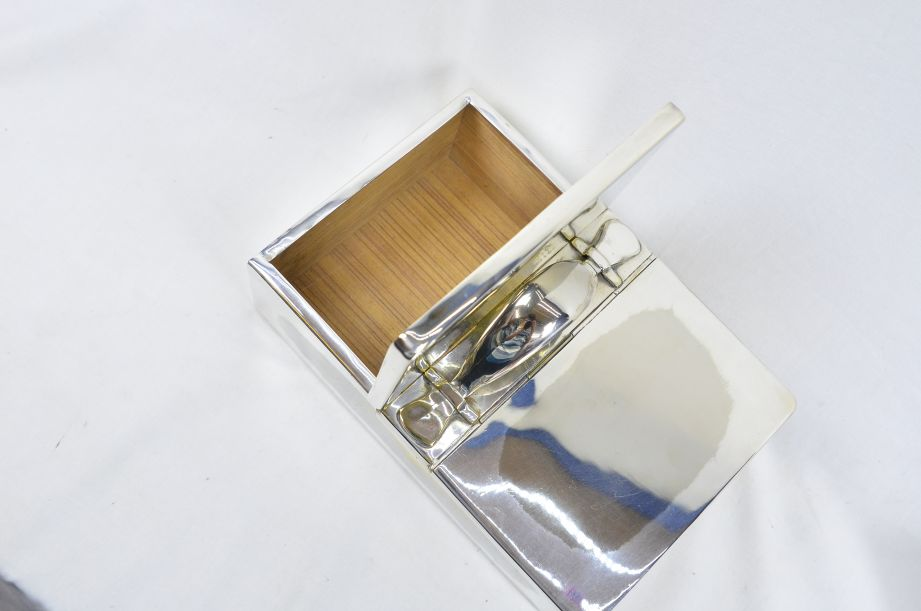 Ralph Lauren Silver Plated Wood Lined Cigar Box with Two Lids & Handle 3