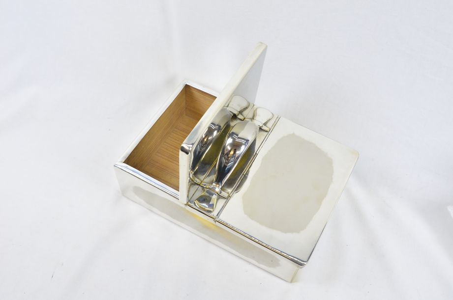 Ralph Lauren Silver Plated Wood Lined Cigar Box with Two Lids & Handle 5