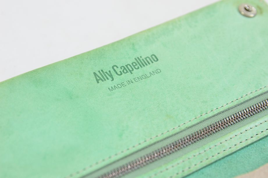 Ally Capellino Evie Long Leather Wallet/Purse in Pale Green 4