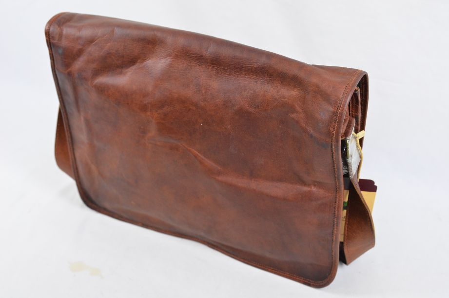 "Rustic Town Brown Leather Artisian 15"" Messenger Bag 3"