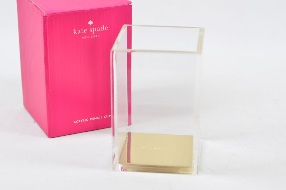 "Kate Spade New York ""a stroke of genius"" Acrylic Pencil Cup/Holder - Gold 1"