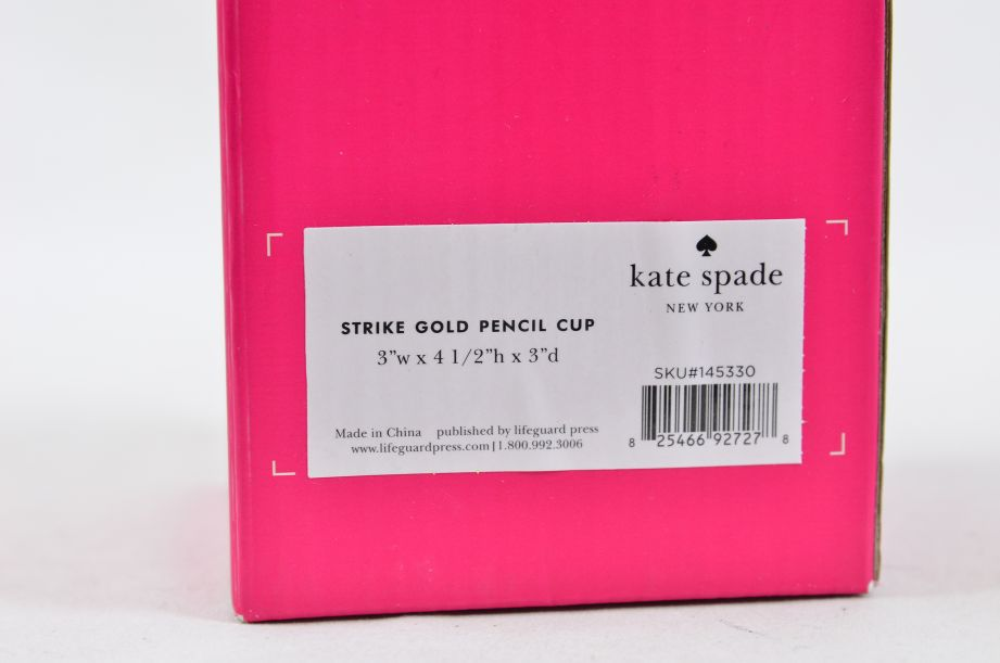 "Kate Spade New York ""a stroke of genius"" Acrylic Pencil Cup/Holder - Gold 5"