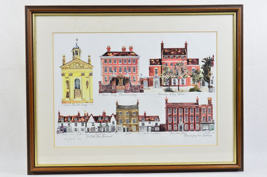 Hilary Hamilton Signed Watercolour Print Trumpington Street Cambridge 1