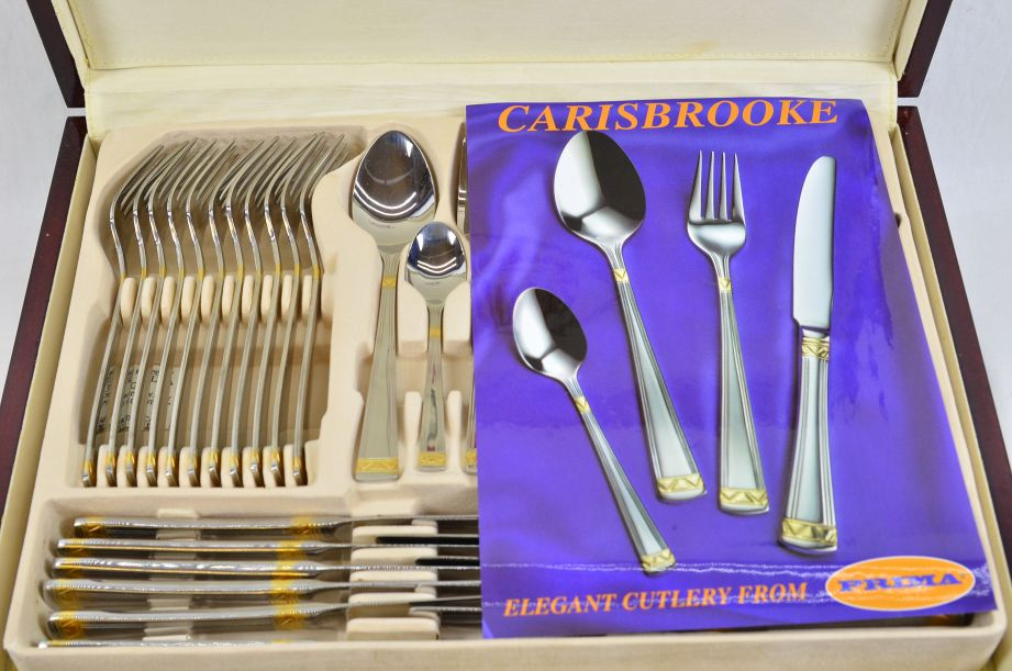 Prima Carisbrooke 95pc Canteen Cutlery Set - Stainless Steel & Gold Plated 3