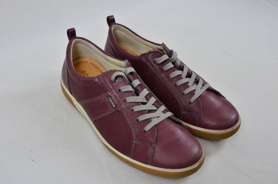 Ecco Chase Bordeaux Old West Lace Low Cut Leather Shoes UK Size 6