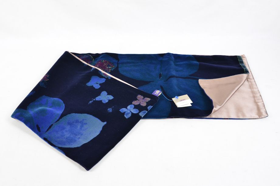 Liberty Dark Blue Floral Silk Lined Scarf 1
