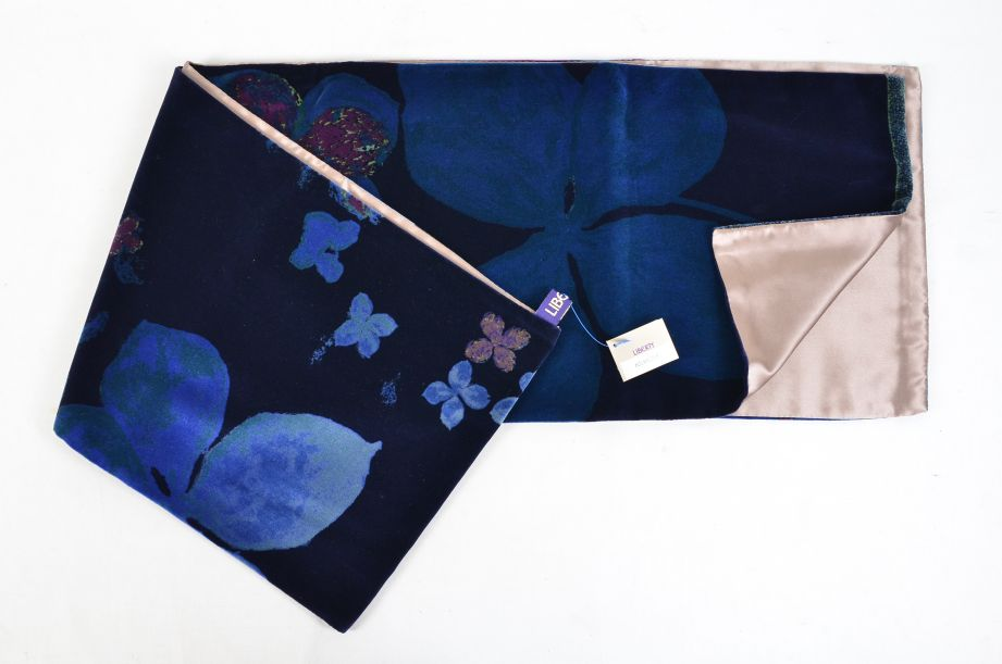 Liberty Dark Blue Floral Silk Lined Scarf 2