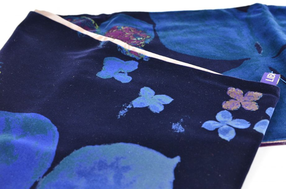 Liberty Dark Blue Floral Silk Lined Scarf 3