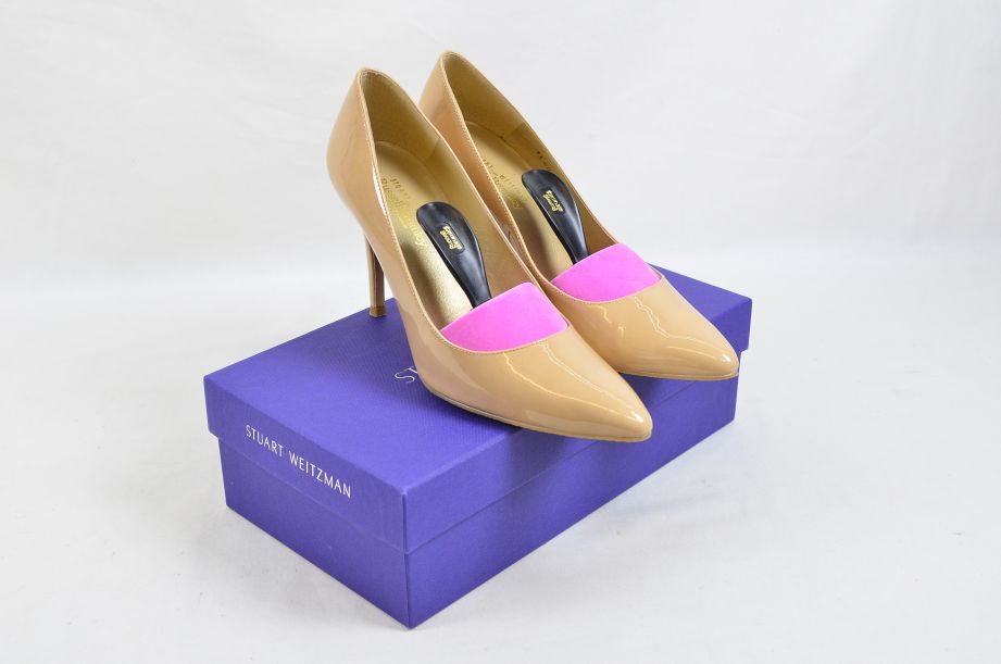 Stuart Weitzman Russel & Bromley Plunge Court Shoes Blush Patent UK Size 5