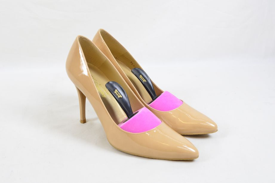Stuart Weitzman Russel & Bromley Plunge Court Shoes Blush Patent UK Size 5 2