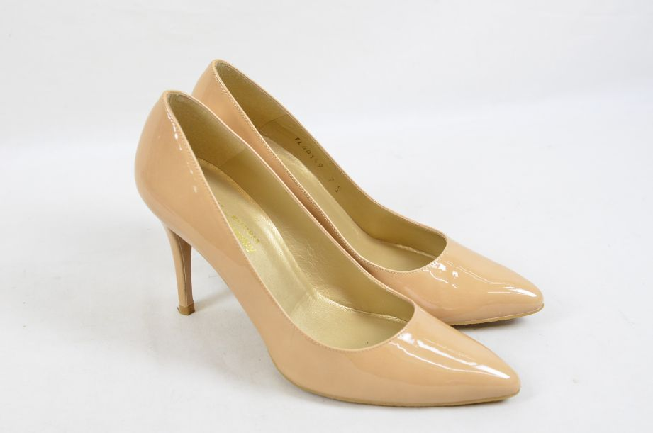 Stuart Weitzman Russel & Bromley Plunge Court Shoes Blush Patent UK Size 5 3