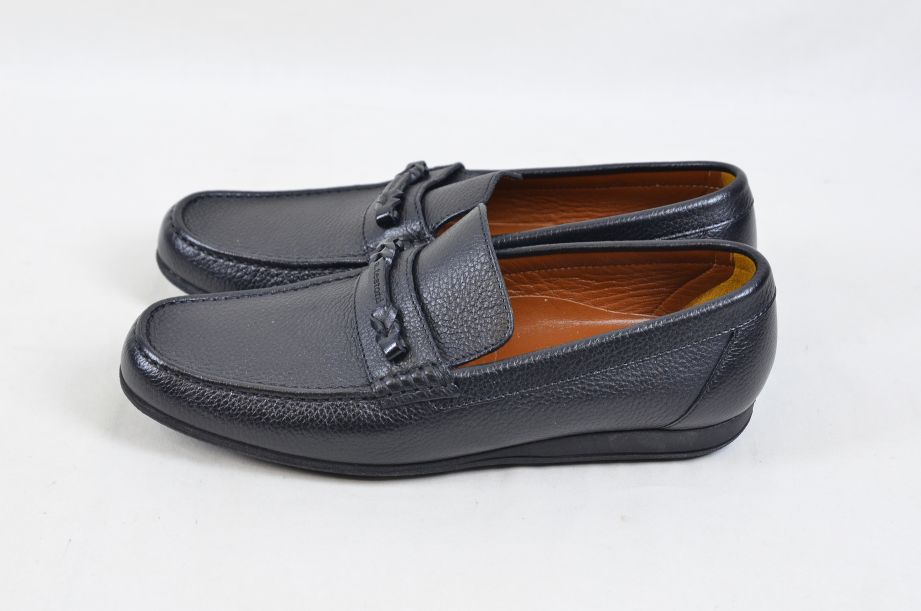 A. Testoni Black Leather Moccasin Shoes Made in Italy UK Size 8.5 2