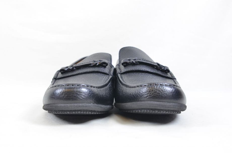 A. Testoni Black Leather Moccasin Shoes Made in Italy UK Size 8.5 4