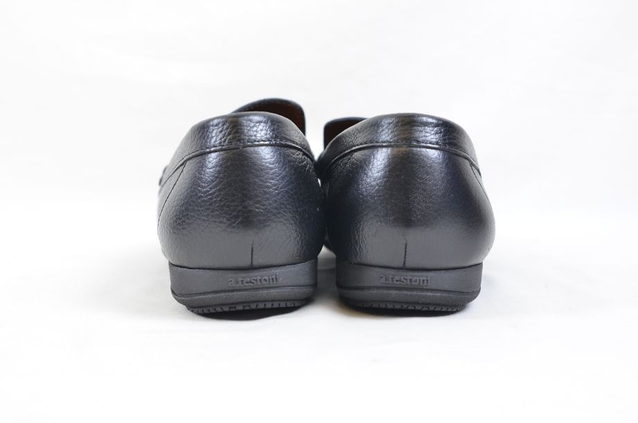 A. Testoni Black Leather Moccasin Shoes Made in Italy UK Size 8.5 5
