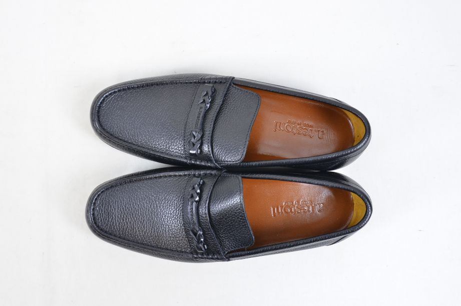 A. Testoni Black Leather Moccasin Shoes Made in Italy UK Size 8.5 6