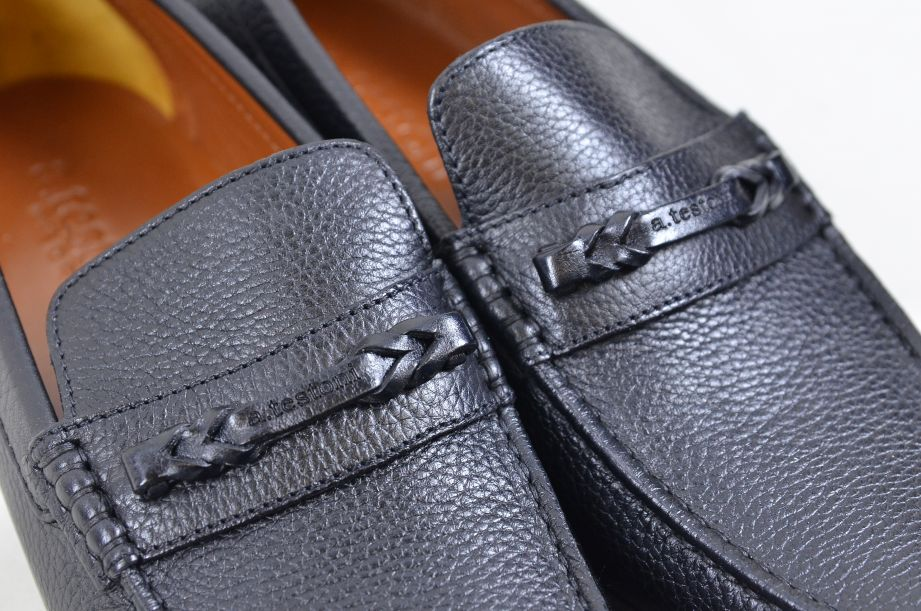 A. Testoni Black Leather Moccasin Shoes Made in Italy UK Size 8.5 7