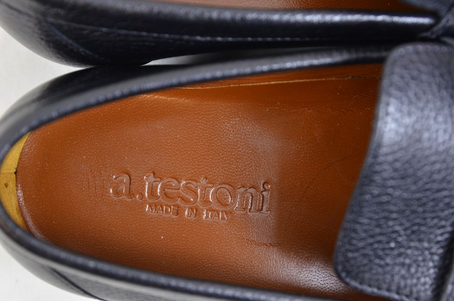 A. Testoni Black Leather Moccasin Shoes Made in Italy UK Size 8.5 8