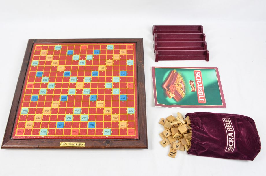 Scrabble Deluxe - Wood Tiles - Rotating Embossed Game Board - Mattel 53579 2
