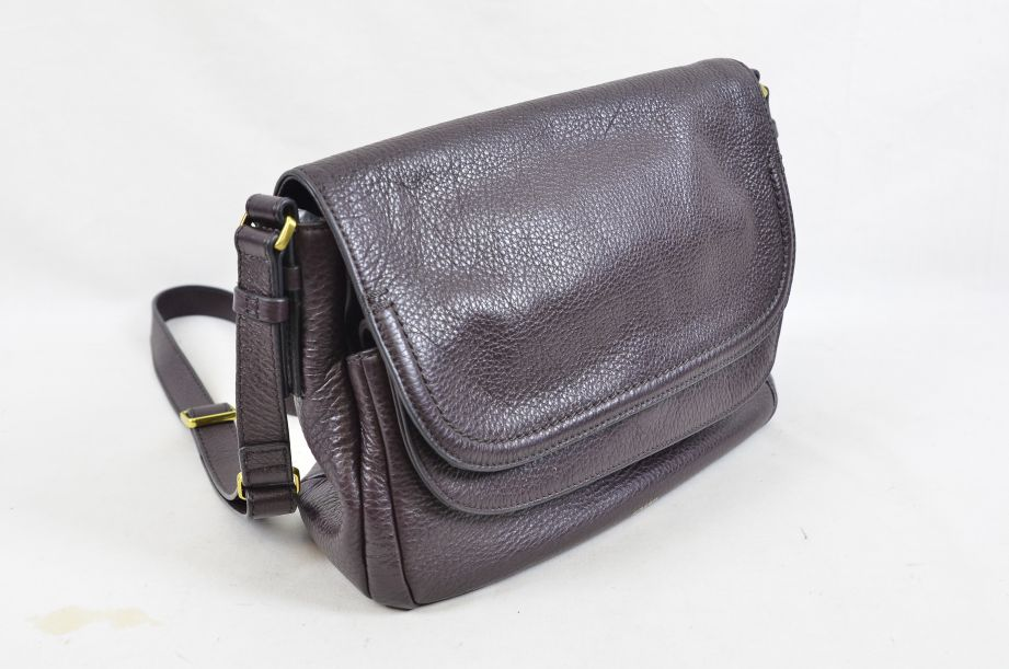 Fossil Peyton Chocolate Brown Leather Double Flap Across Body Bag 2