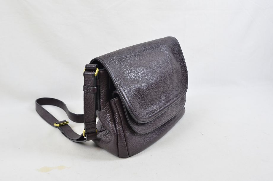 Fossil Peyton Chocolate Brown Leather Double Flap Across Body Bag 3