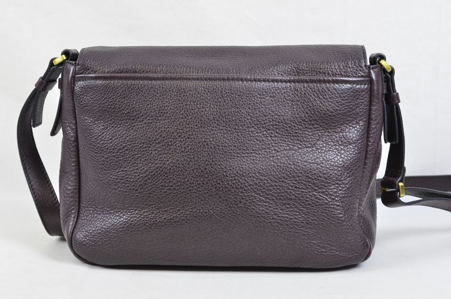 Fossil Peyton Chocolate Brown Leather Double Flap Across Body Bag 4