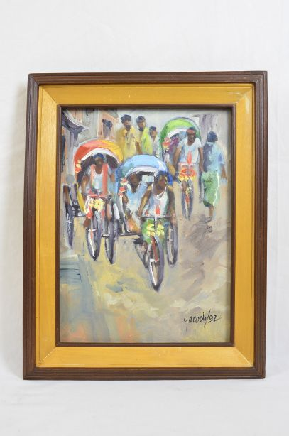 Rickshaws in Busy Bangladeshi Street Original Oil Painting by M.M. Yacoob 1992 1