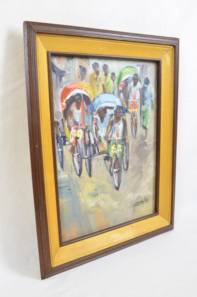 Rickshaws in Busy Bangladeshi Street Original Oil Painting by M.M. Yacoob 1992 2