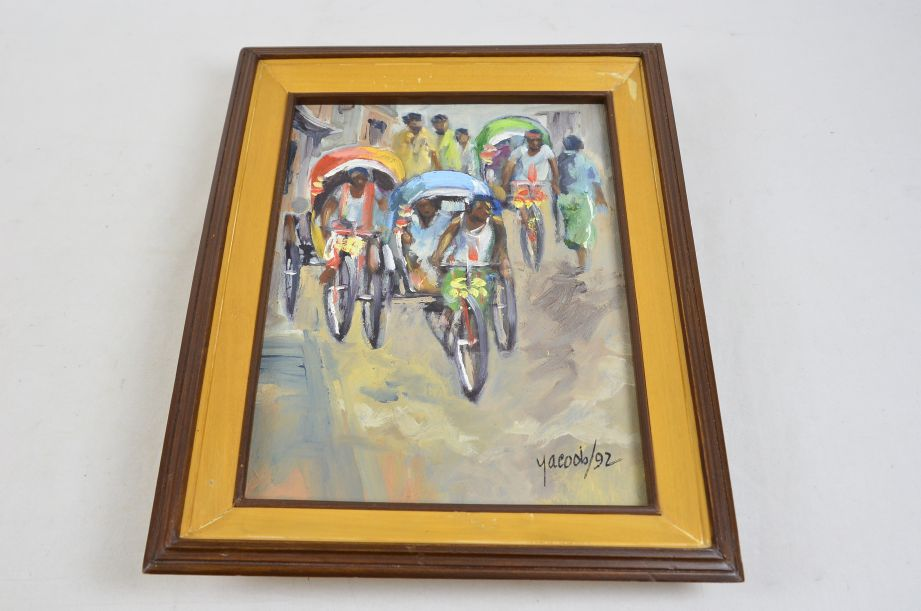 Rickshaws in Busy Bangladeshi Street Original Oil Painting by M.M. Yacoob 1992 3