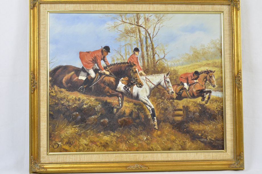 "D. Long ""The Hunt"" Original Oil Painting 1"