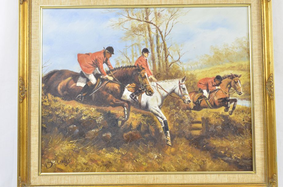 "D. Long ""The Hunt"" Original Oil Painting 2"