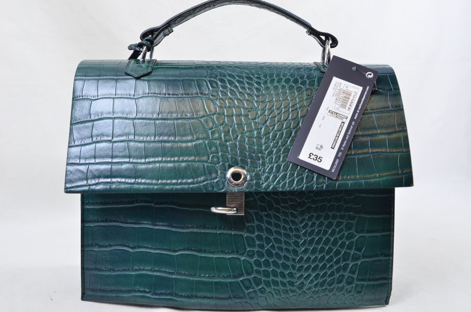 Marks and Spencer Green Croc Effect Handbag 2
