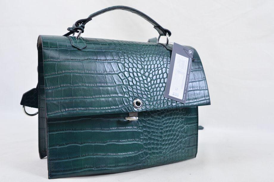 Marks and Spencer Green Croc Effect Handbag 3