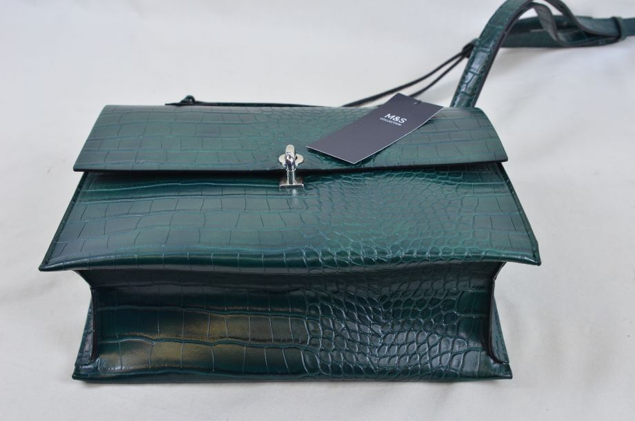Marks and Spencer Green Croc Effect Handbag 5