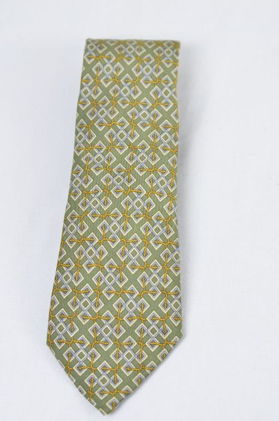Hermes Olive Green 100% Silk Tie - Rope Interlocked Geometric Pattern