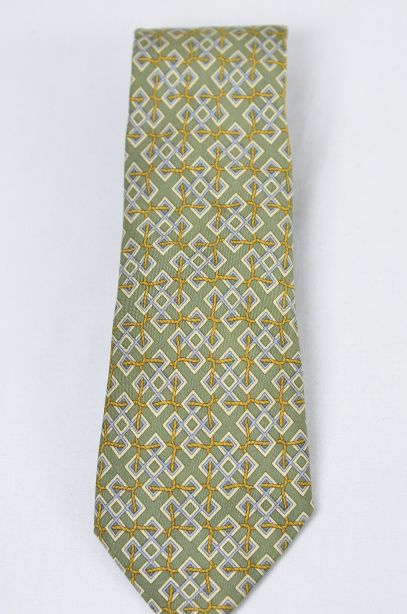 Hermes Olive Green 100% Silk Tie - Rope Interlocked Geometric Pattern 2