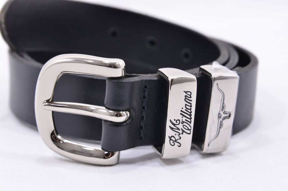 "R.M. Williams Black Leather Cowhide Buckle Belt 34"" 2"