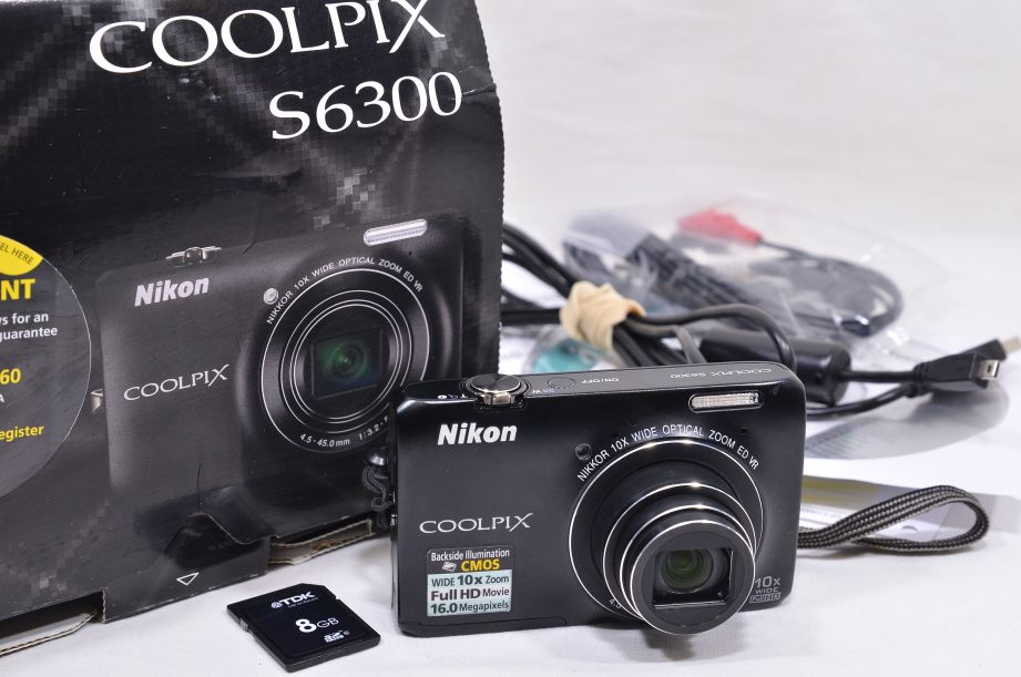 Nikon COOLPIX S6300 16.0MP Digital Camera - Black & 8GB SD Card 1