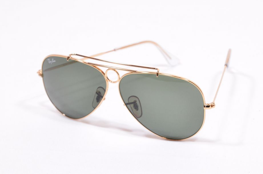 Retro Ray Ban RB3292 Aviator Sunglasses with Case - Gold Frame - Green Lenses