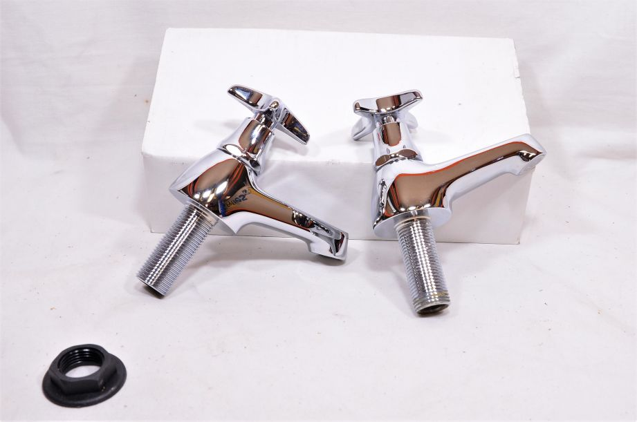 Pair of Chrome Plated Cross Top Basin Taps - Hot and Cold - Marflow Consort 2